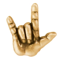 I Love You Sign Language Pin in Antique Gold