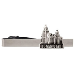 Logan Utah Temple Tie Bar - Silver