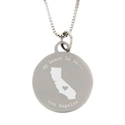 My Heart Is In State Necklace - Silver